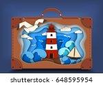 lighthouse on coast inside... | Shutterstock .eps vector #648595954