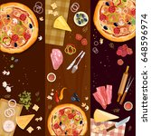 making pizza  pizza on wooden... | Shutterstock .eps vector #648596974