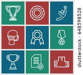 winner icons set. set of 9... | Shutterstock .eps vector #648598528