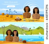 new zealand banners. people of... | Shutterstock .eps vector #648599296