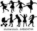 silhouettes of girls. | Shutterstock .eps vector #648604744
