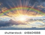 beautiful sunset with a rainbow ... | Shutterstock . vector #648604888