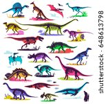 set  silhouettes  dino... | Shutterstock .eps vector #648613798