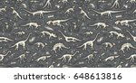 set  silhouettes  dino... | Shutterstock .eps vector #648613816