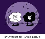the two sleeping sheep in blue... | Shutterstock .eps vector #648613876