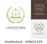 law label with balance scale ... | Shutterstock .eps vector #648621139