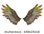 sacred angel or bird wings.... | Shutterstock .eps vector #648625618