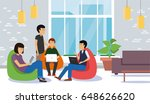 young people discussing and... | Shutterstock .eps vector #648626620