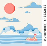 girl floating on the water with ... | Shutterstock .eps vector #648632683