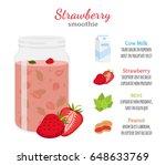 strawberry smoothie  organic... | Shutterstock . vector #648633769