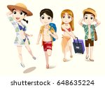 traveling with friends. tourism ... | Shutterstock .eps vector #648635224