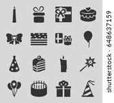 birthday icons set. set of 16... | Shutterstock .eps vector #648637159