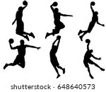 set of basketball player dunk... | Shutterstock .eps vector #648640573