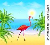 Flamingo On A Beach Under Palm ...