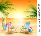 tropical beach background  | Shutterstock .eps vector #648646990