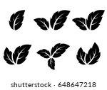 black leaf icons set on white... | Shutterstock . vector #648647218