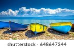 colorful boats on the beach at...   Shutterstock . vector #648647344