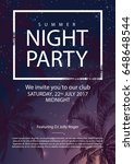 summer party poster with palm... | Shutterstock .eps vector #648648544