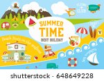 summer vacation card    beach... | Shutterstock .eps vector #648649228