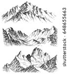 mountains vector set. hand... | Shutterstock .eps vector #648655663