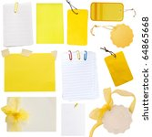 collection of various yellow notes and tags isolated on white - stock photo