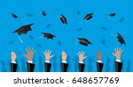 hands of graduates throwing... | Shutterstock .eps vector #648657769