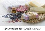 handmade lavender an rose soap... | Shutterstock . vector #648672730