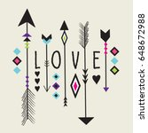 love text with arrow and tribal ... | Shutterstock .eps vector #648672988