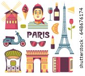 paris icons set. vector... | Shutterstock .eps vector #648676174