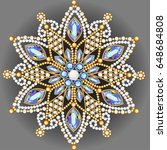 mandala brooch jewelry  design... | Shutterstock .eps vector #648684808