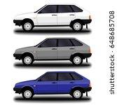 realistic car. hatchback. set. | Shutterstock .eps vector #648685708