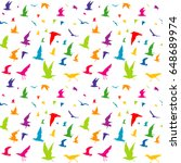 colorful birds silhouettes... | Shutterstock .eps vector #648689974