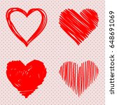 pack of red hand drawn hearts.... | Shutterstock .eps vector #648691069