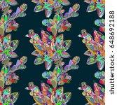 seamless floral pattern. vector ...   Shutterstock .eps vector #648692188