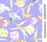vector floral watercolor... | Shutterstock .eps vector #648695299