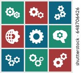 gears icons set. set of 9 gears ... | Shutterstock .eps vector #648706426