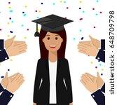 smiling graduate student... | Shutterstock .eps vector #648709798