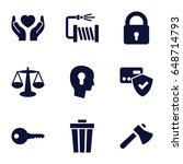 Protection Icons Set. Set Of 9...