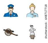 guard  guide  statue  gun.... | Shutterstock .eps vector #648717718