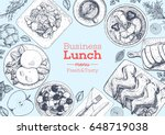 lunch top view frame. food menu ... | Shutterstock .eps vector #648719038