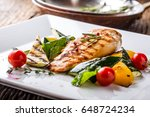 grill chicken breast. grilled... | Shutterstock . vector #648724234