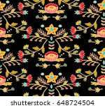 embroidery colorful  ethnic... | Shutterstock .eps vector #648724504