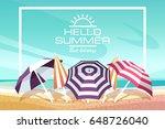 summer beach landscape with... | Shutterstock .eps vector #648726040
