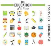 education flat icon set  school ... | Shutterstock .eps vector #648727078