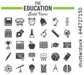 education solid icon set ... | Shutterstock .eps vector #648727150
