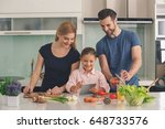 family cooking meal food... | Shutterstock . vector #648733576
