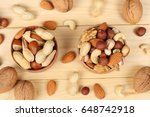 mix almonds  cashew nuts ... | Shutterstock . vector #648742918