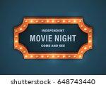 retro billboard with light...   Shutterstock .eps vector #648743440