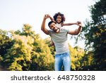 happy father and child spending ... | Shutterstock . vector #648750328