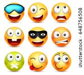 smiley with glasses smiling... | Shutterstock .eps vector #648756508